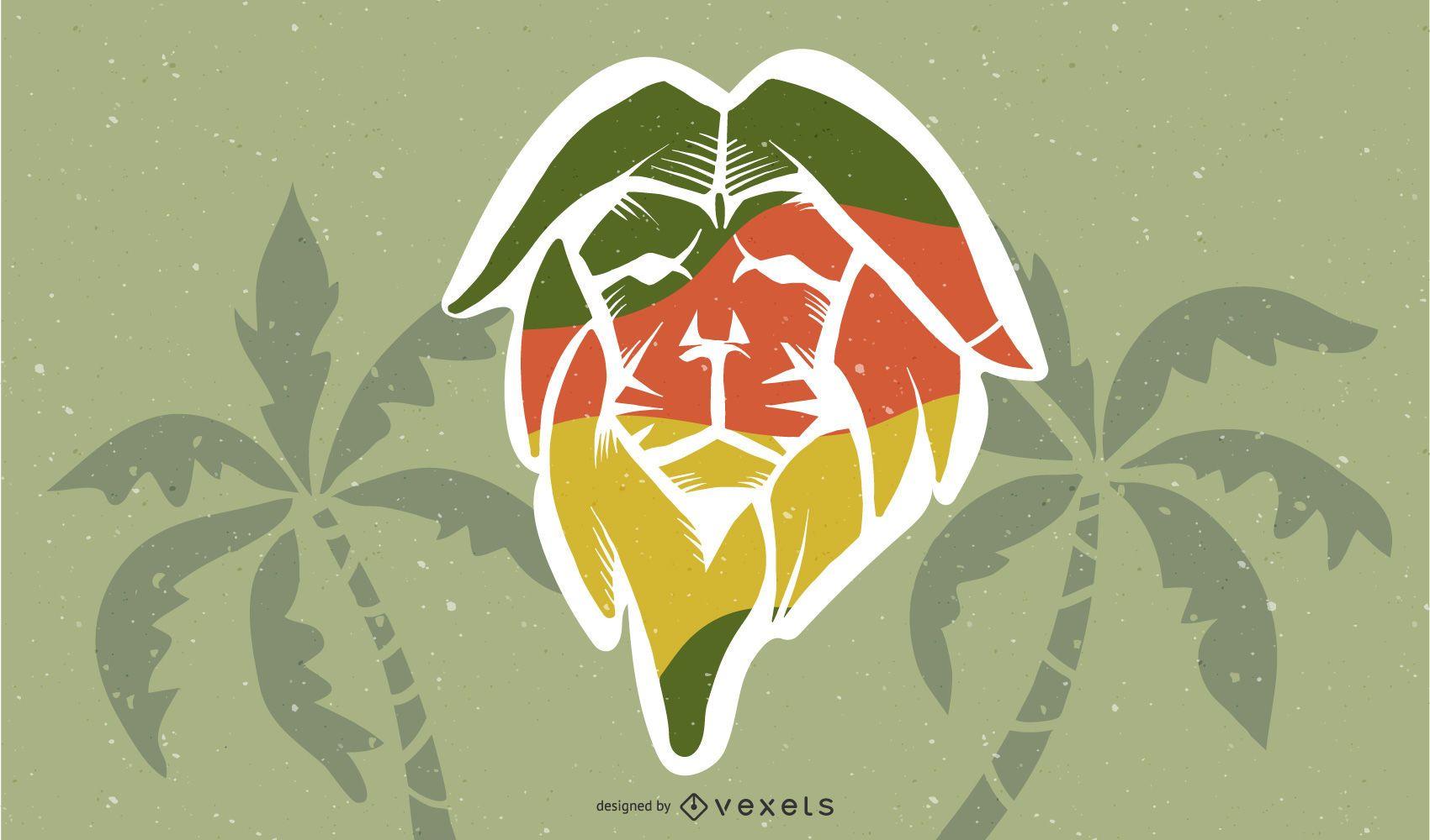 Desenho de ilustração de leão reggae