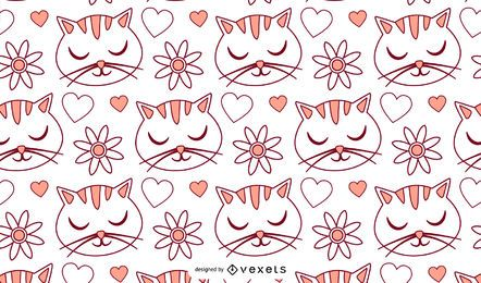 Padrão de desenhos animados de amor de gato