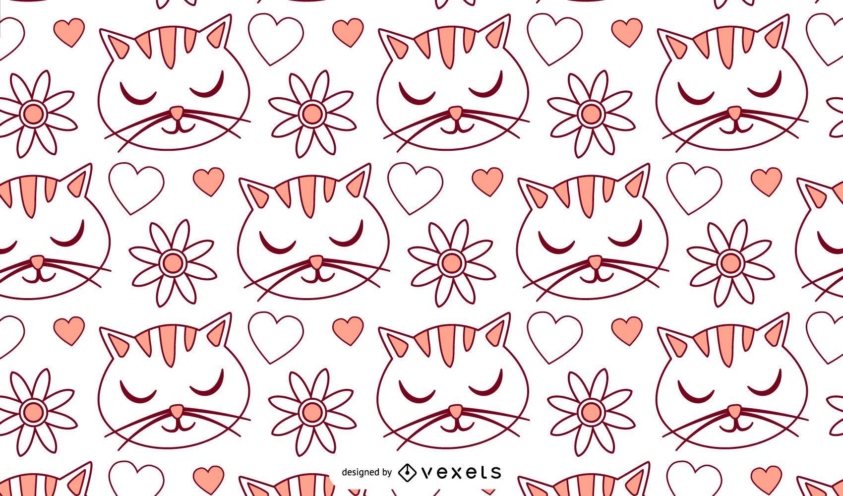 Cat Love Cartoon Pattern