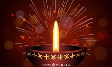 Ilustración de Diwali con lámpara de aceite