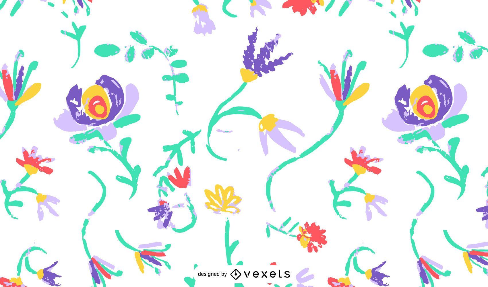 Hand drawn flower pattern backdrop