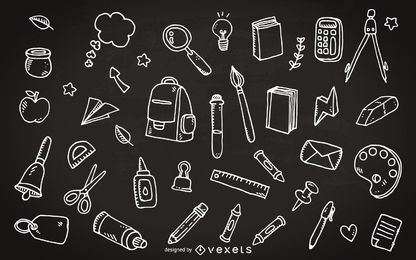 Material escolar, rabiscos de quadro-negro