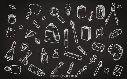 School supplies chalkboard doodles
