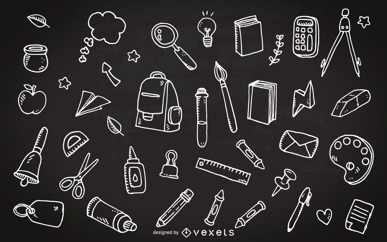 Doodles de lousa com material escolar