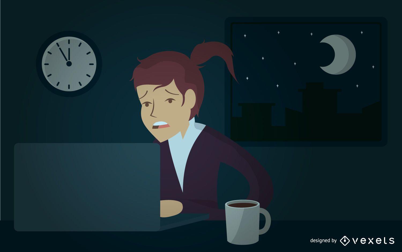 Mulher de negócios ilustrada trabalhando até tarde