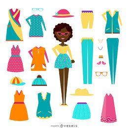 Menina, com, roupas, elementos