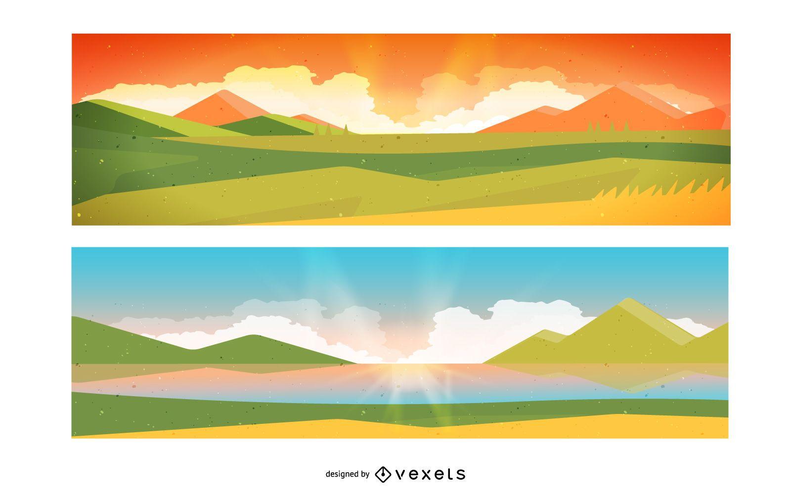 Conjunto de diseño de banner de paisaje