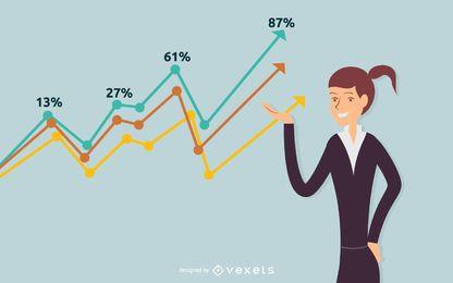 Ilustração de gráfico de sucesso de empresária
