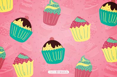 Dibujado a mano patrón de cupcake en tonos pastel