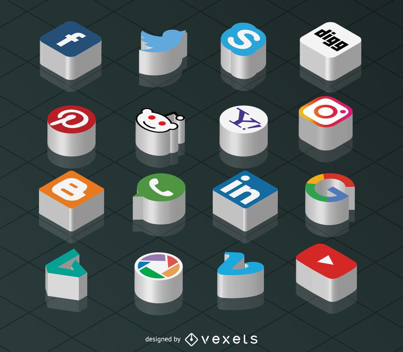Ícones isométricos de mídia social