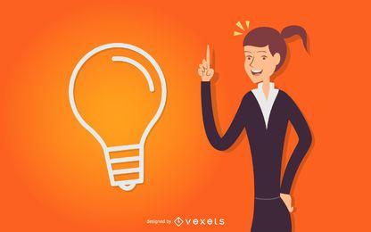 Mulher negócio, idéia, ilustração