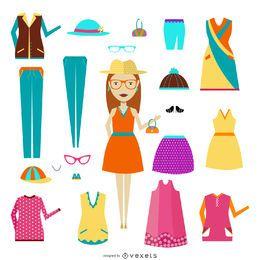 Mulher, com, roupa, itens