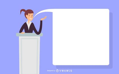 Ilustración de discurso de mujer