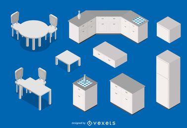 Ilustração cozinha isométrica