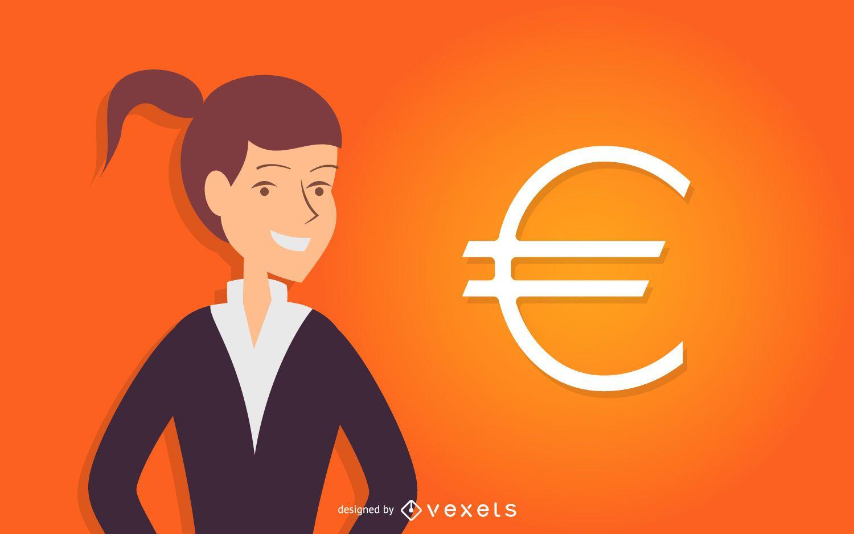 Mujer de negocios con símbolo del euro
