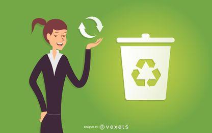 Mulher negócio, ilustração reciclando
