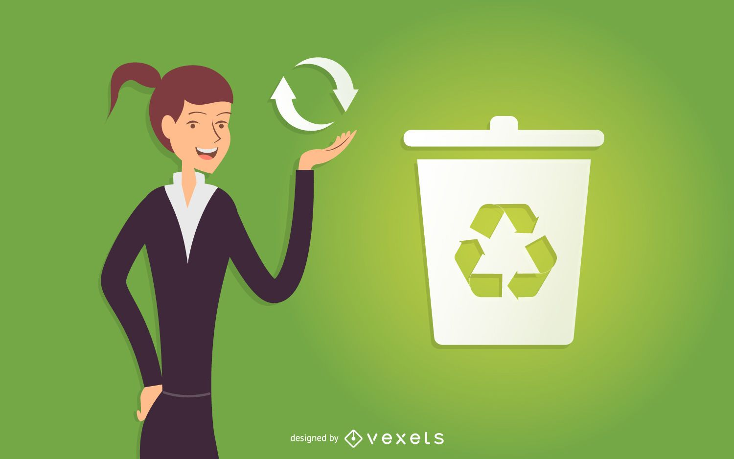 Business woman recycling illustration