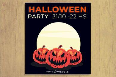 Folheto de festa de Halloween horripilante