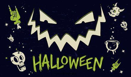 Cartel de elementos de diseño de Halloween