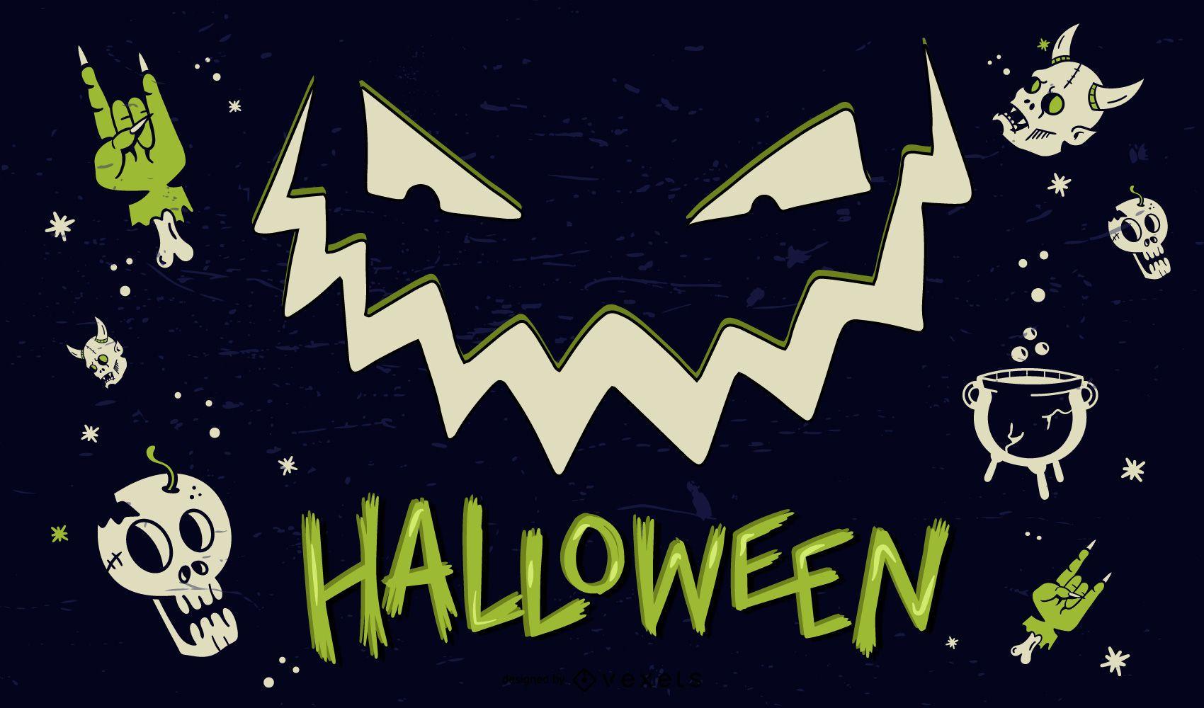 Halloween Design Elements Poster
