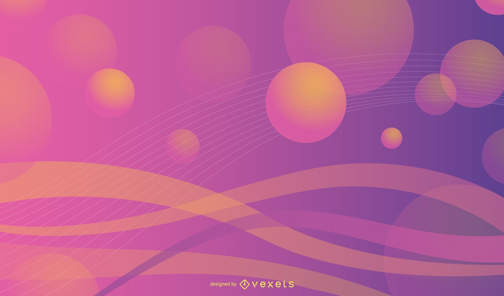 Dynamic backdrop with waves and 3D circles