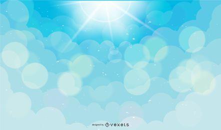 Ilustración de cielo con nubes y rayos de luz.