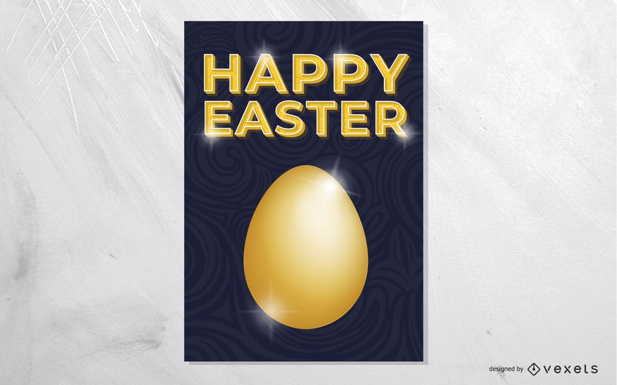 Huevo de Pascua dorado diseño