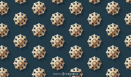Diseño de patrón de copos de nieve dorados