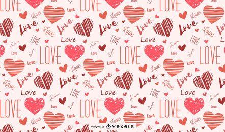 Herzen und Liebesmuster gezeichnet