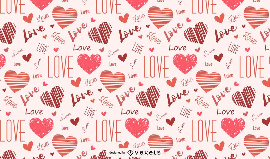 Drawn hearts and love pattern