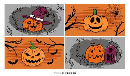 4 Halloween geschnitzte Kürbisse