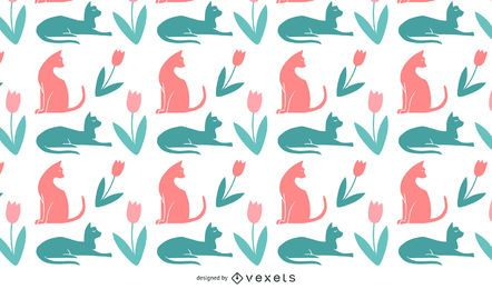 Diseño de patrón de siluetas de gato