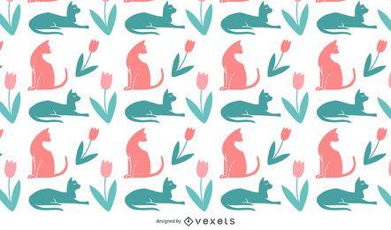 Gato, silhuetas, padrão, desenho