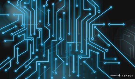 Diseño futurista azul con líneas.