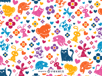 Colorful animals and heart pattern