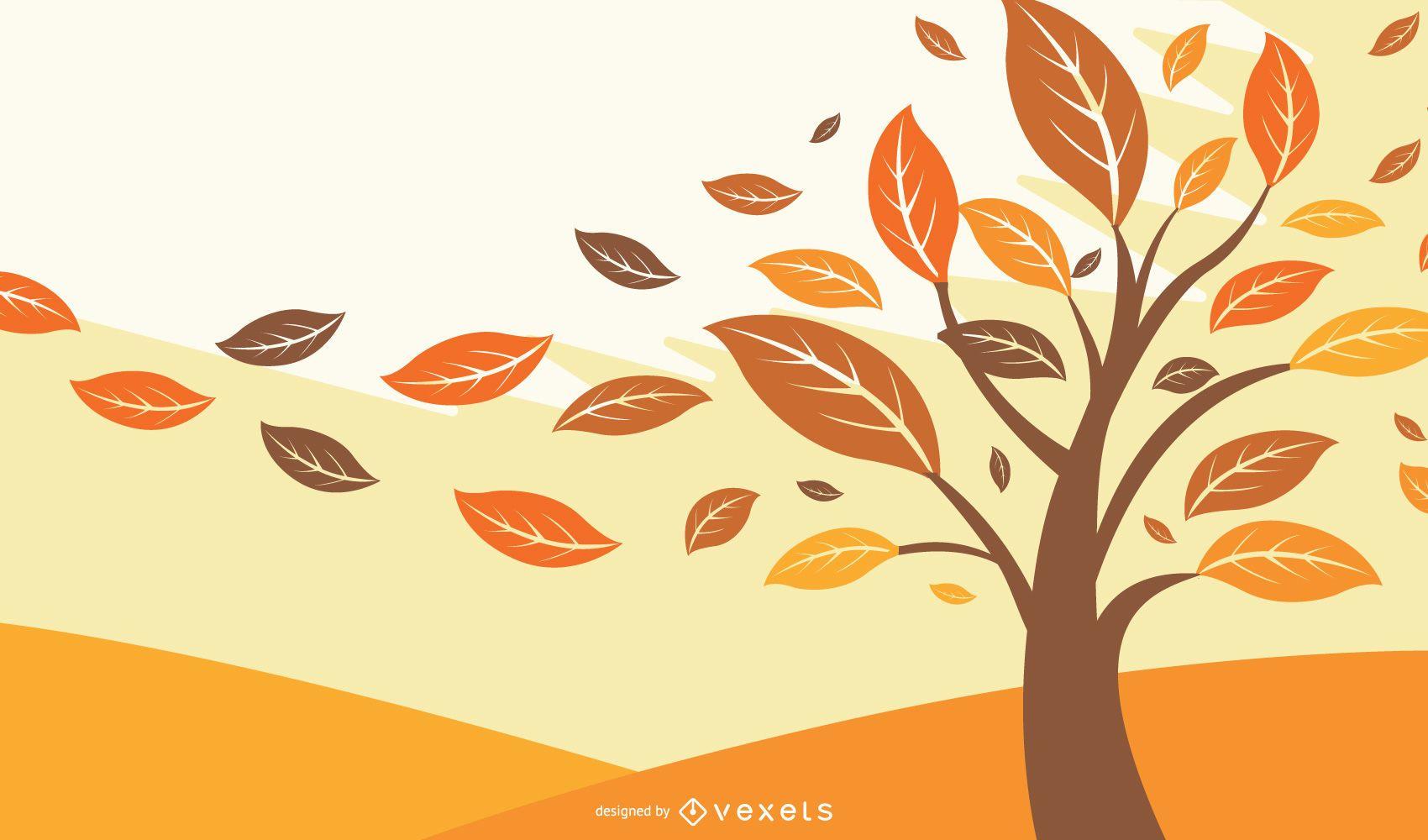 Autumn Falling Leaves Illustration
