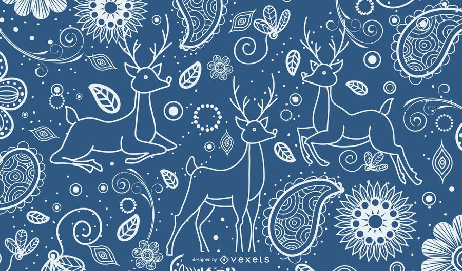 Ornamental background with decorated deer