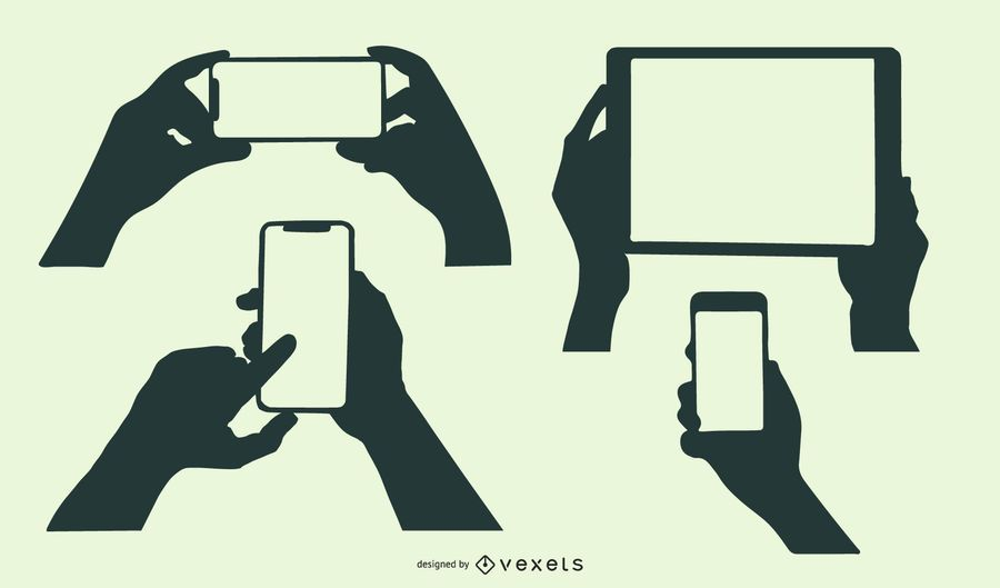 Silhouette Hands Holding Mobile Devices Set