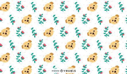 Diseño de patrones de flores y perros.