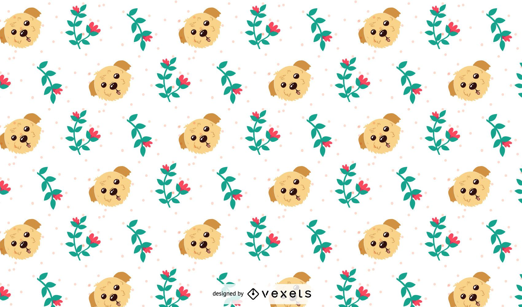 Dogs and Flowers Pattern Design