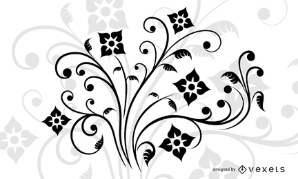 Decoración floral del remolino