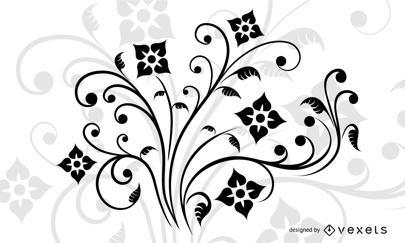 Decoración floral remolino