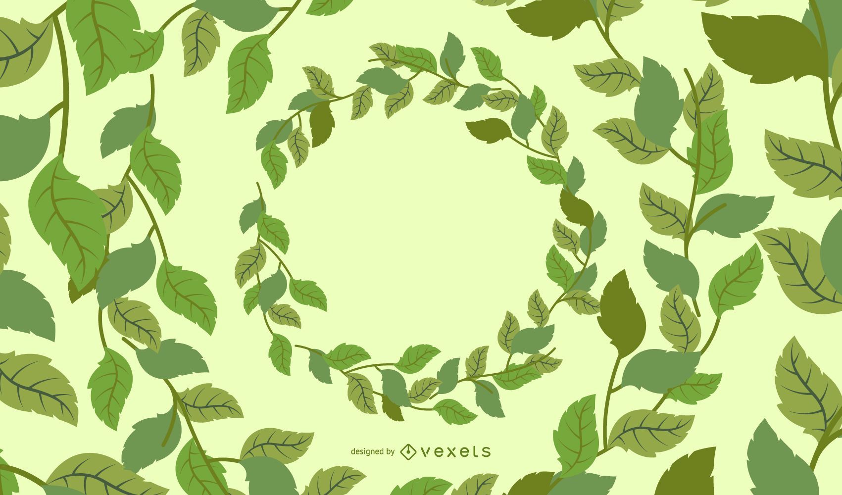 Green leaves circles