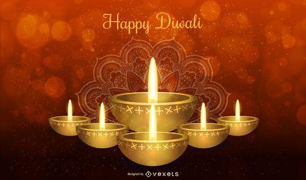 Feliz Diwali design com vela e tipografia