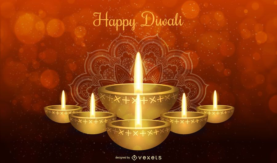Happy Diwali design with candle and typography