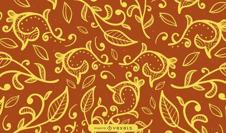 Fondo de remolinos ornamentales en marrón
