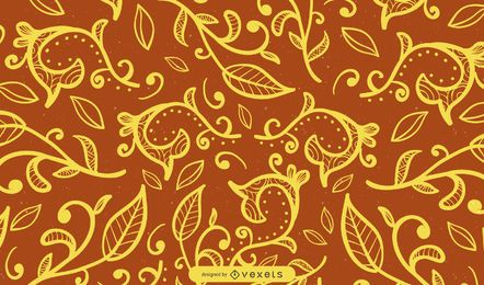 Ornamental swirls background in brown