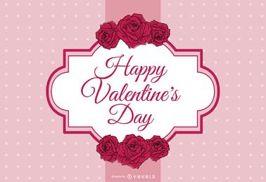 Diseño de San Valentín con etiqueta y decoración.