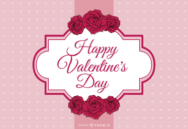 Valentine's Day design with label and decoration