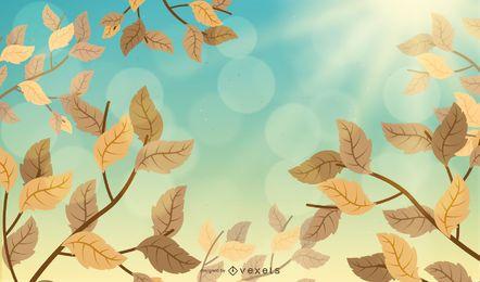 Hojas de otoño ilustradas en el cielo.